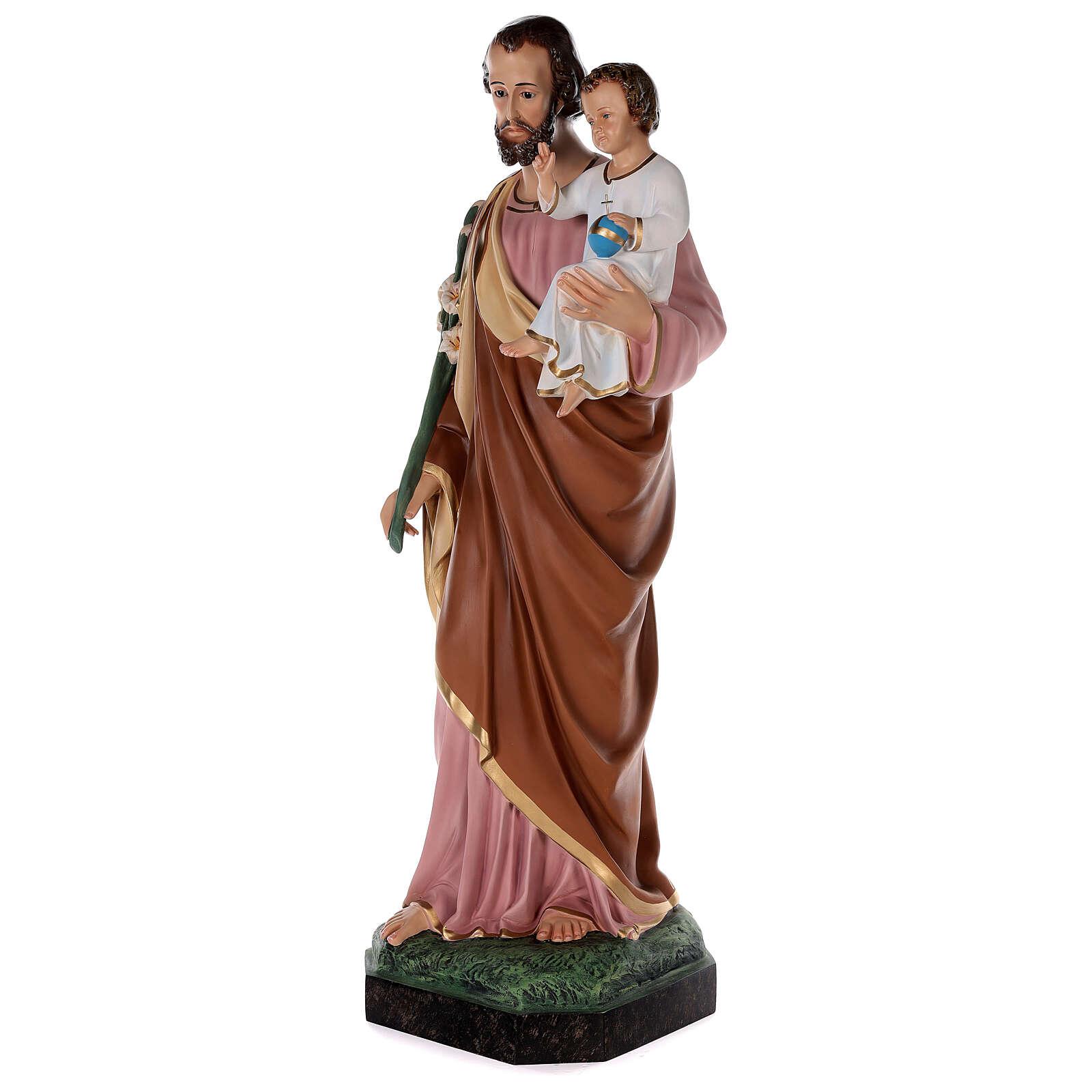 Estatua San José fibra de vidrio coloreada 100 cm ojos vidrio 4