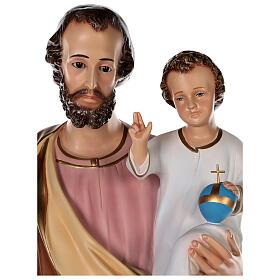 Estatua San José fibra de vidrio coloreada 100 cm ojos vidrio s2