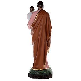 Estatua San José fibra de vidrio coloreada 100 cm ojos vidrio s10