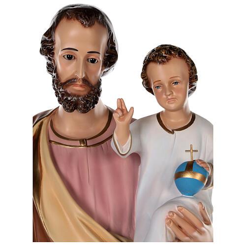 Estatua San José fibra de vidrio coloreada 100 cm ojos vidrio 2