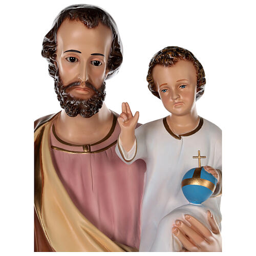 Statua San Giuseppe vetroresina colorata 100 cm occhi vetro 2
