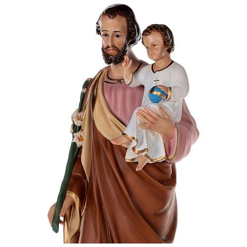 Statua San Giuseppe vetroresina colorata 100 cm occhi vetro 8