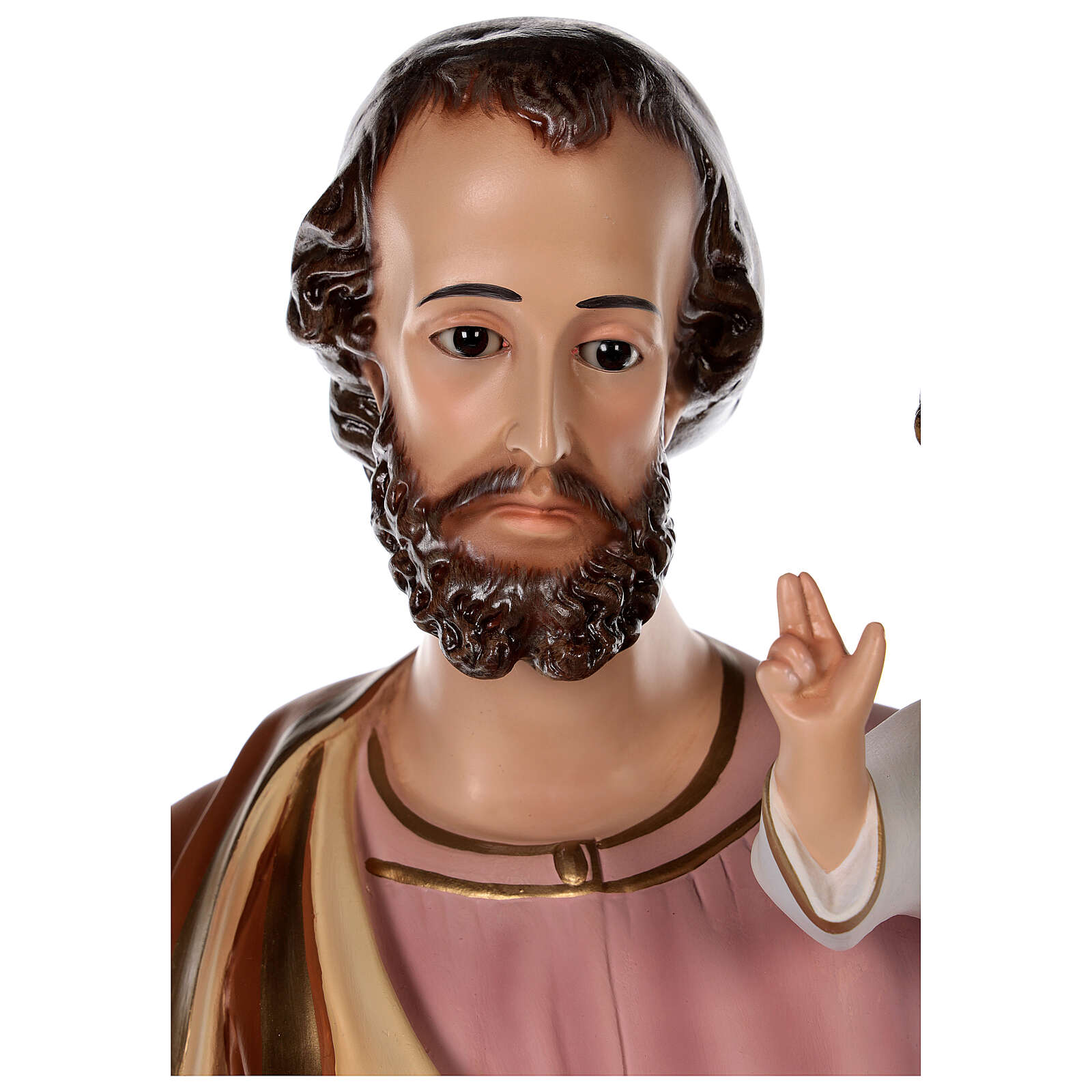Statue of St Joseph in colored fiberglass, 100 cm crystal eyes 4