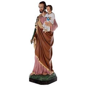 Statue of St Joseph in colored fiberglass, 100 cm crystal eyes s3