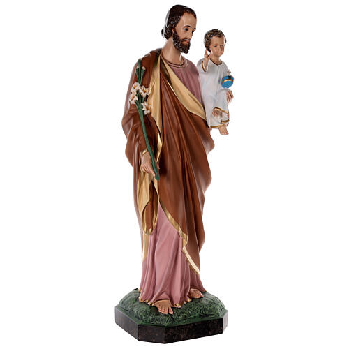 Statue of St Joseph in colored fiberglass, 100 cm crystal eyes 5