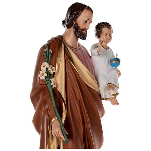 Statue of St Joseph in colored fiberglass, 100 cm crystal eyes 7