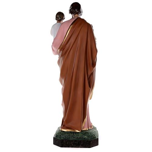 Statue of St Joseph in colored fiberglass, 100 cm crystal eyes 10