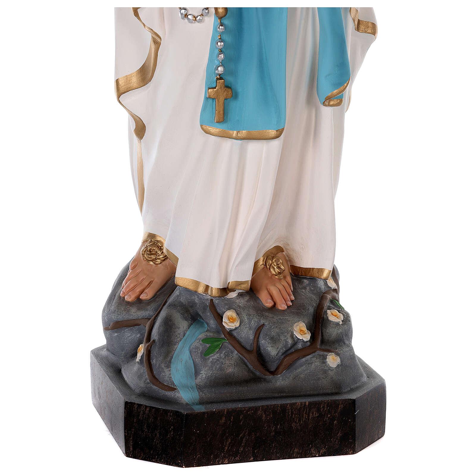 Estatua Virgen de Lourdes fibra de vidrio coloreada 75 cm ojos vidrio 4