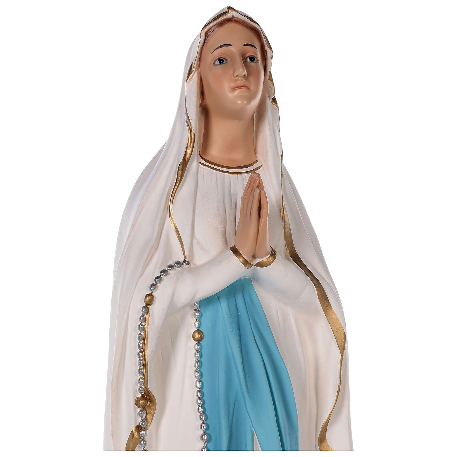 Our Lady of Lourdes statue in colored fiberglass, 75 cm glass eyes 4