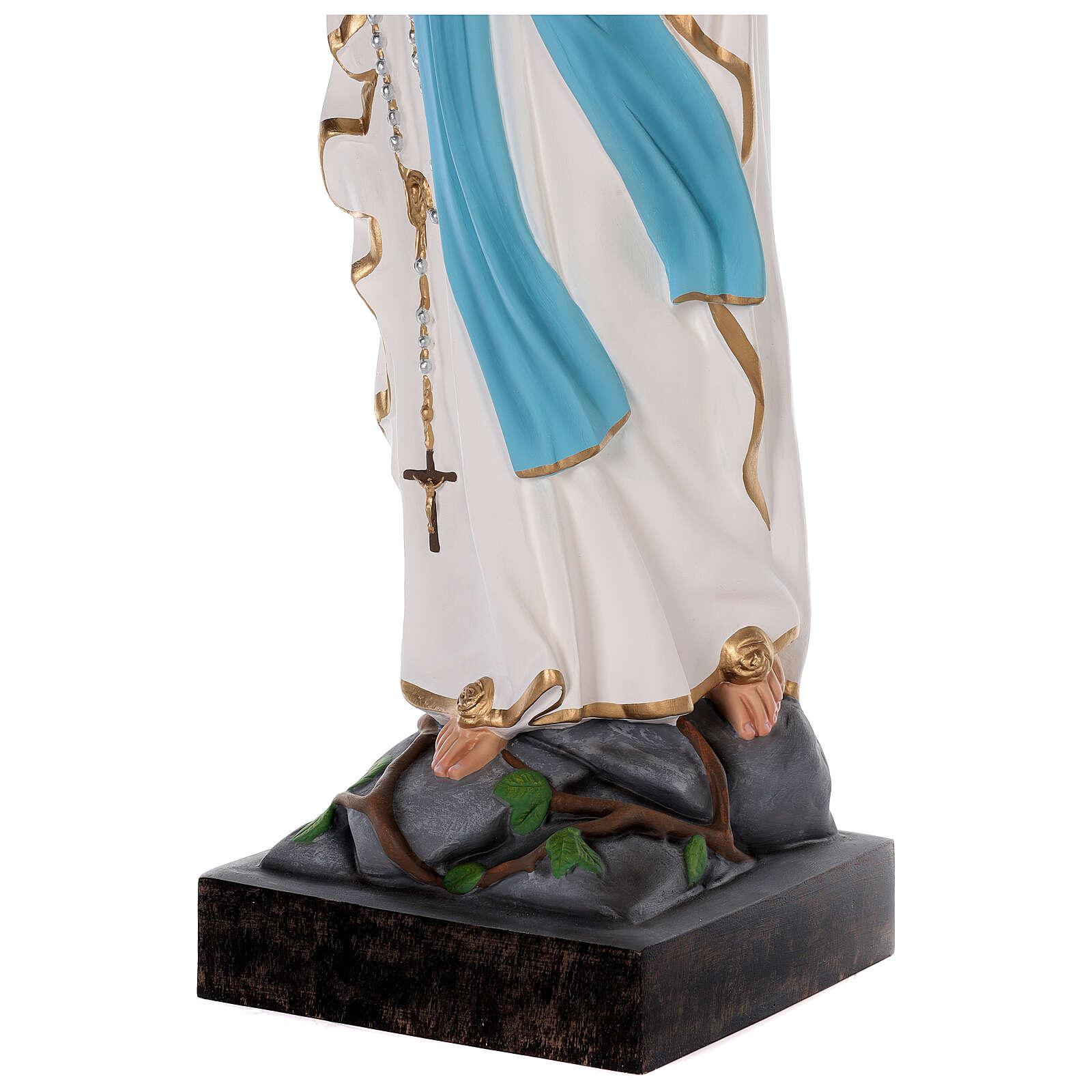 Statua Madonna di Lourdes vetroresina colorata 85 cm occhi vetro 4