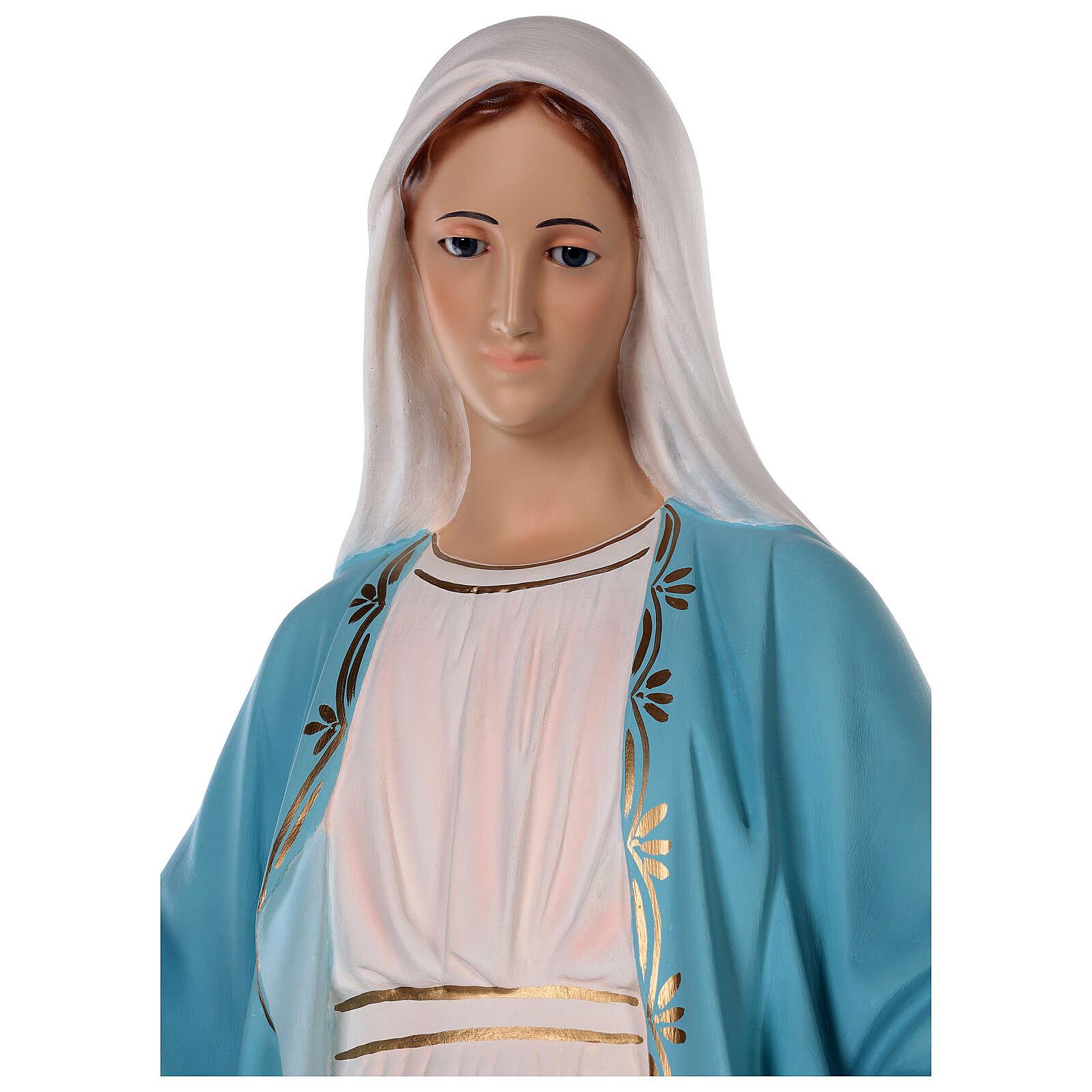 Estatua Virgen Milagrosa fibra de vidrio coloreada 85 cm ojos vidrio 4