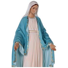 Estatua Virgen Milagrosa fibra de vidrio coloreada 85 cm ojos vidrio s6