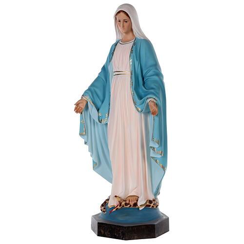 Estatua Virgen Milagrosa fibra de vidrio coloreada 85 cm ojos vidrio 3