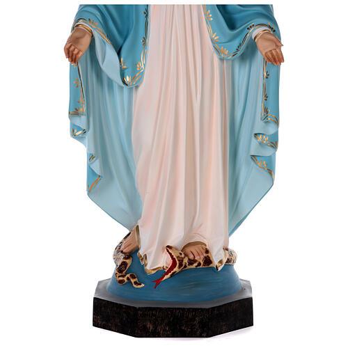 Estatua Virgen Milagrosa fibra de vidrio coloreada 85 cm ojos vidrio 7