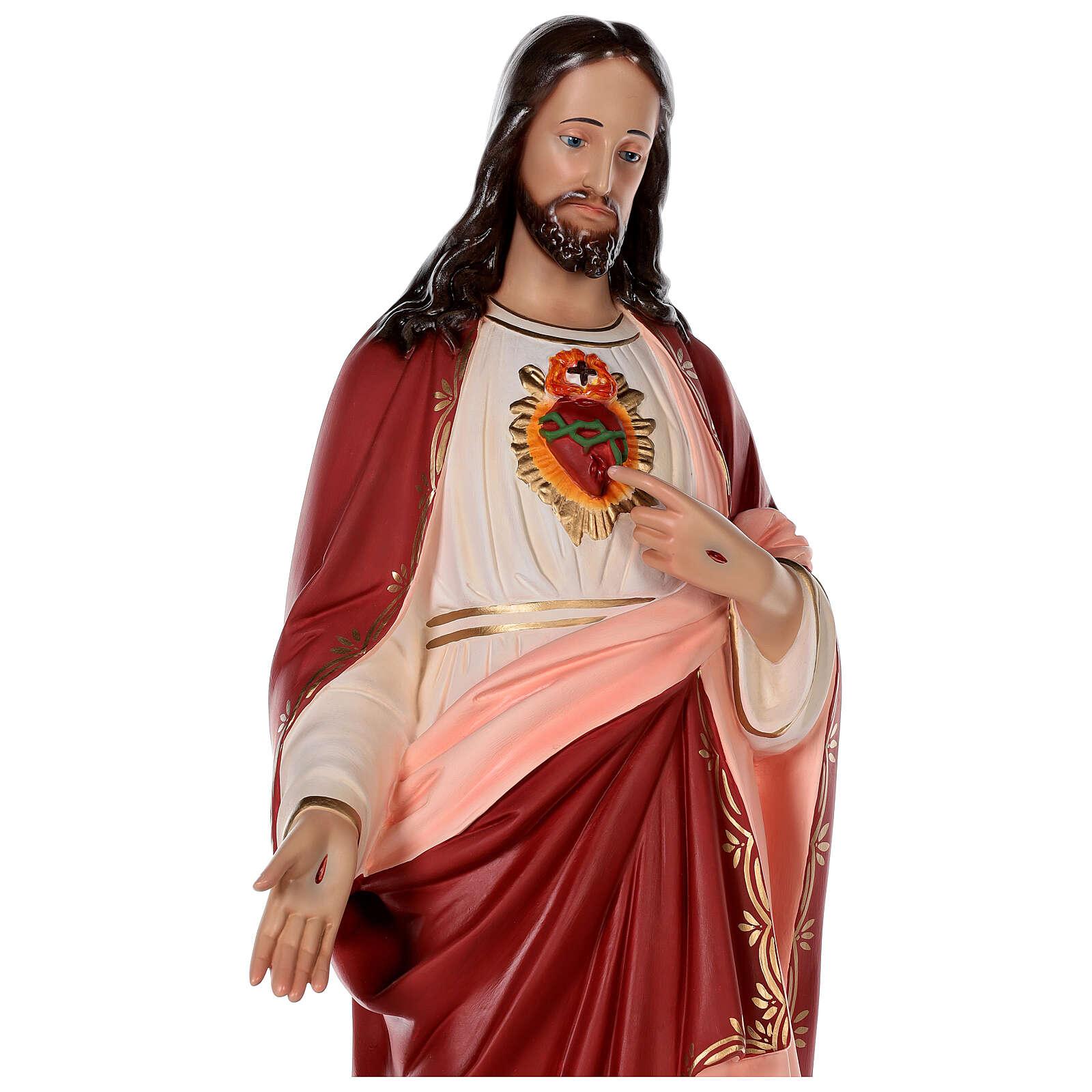 Statua Gesù Sacro Cuore vetroresina colorata 85 cm occhi vetro 4