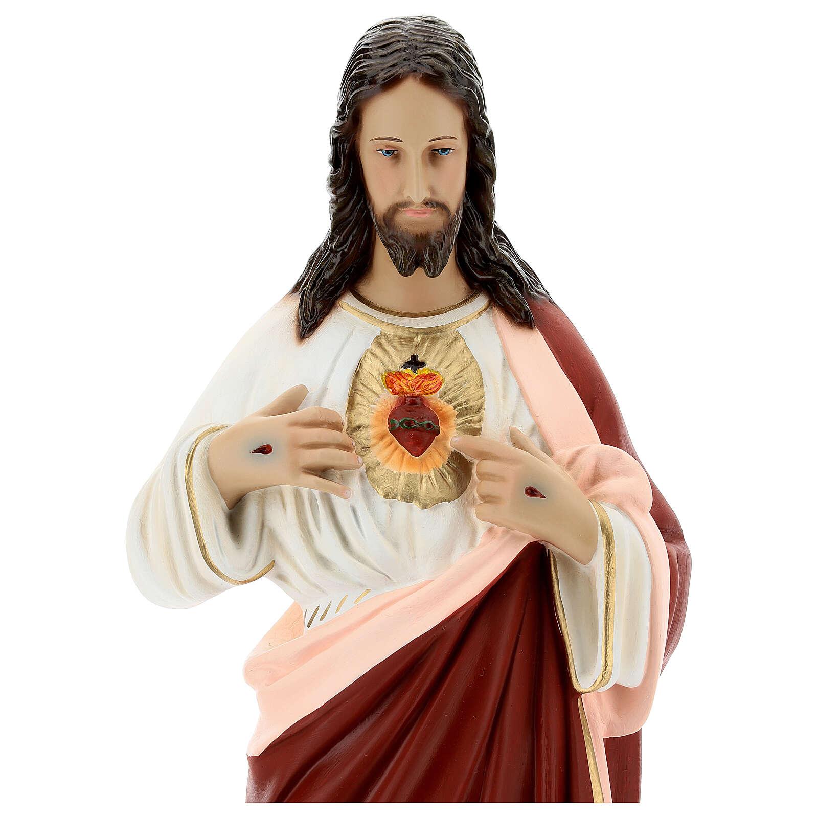 Estatua Sagrado Corazón Jesús 65 cm fibra de vidrio pintada 4