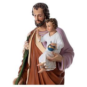 San Giuseppe con bambino 85 cm vetroresina colorata occhi vetro