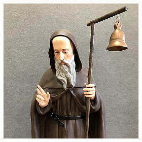 Estatua San Antonio Abad bastón campana 120 cm fibra de vidrio pintada