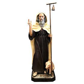 Estatua San Antonio Abad capa clara 160 cm fibra de vidrio pintada