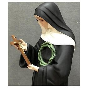 Imagem Santa Rita de Cássia crucifixo fibra de vidro pintada 100 cm