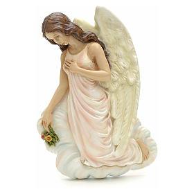 Ange avec fleurs à accrocher marbre reconstitué 25 cm s1