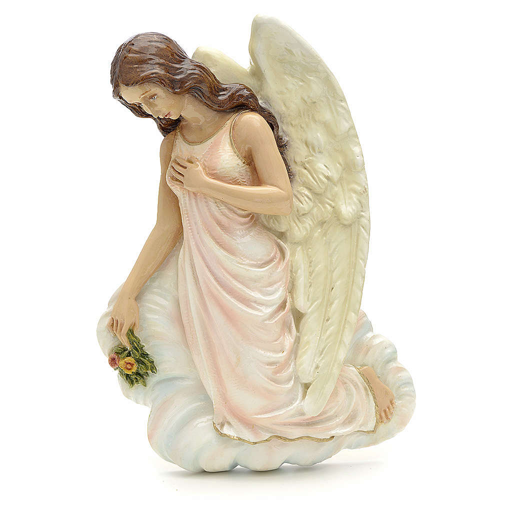 Angel with flowers, reconstituted marble bas relief, 25 cm 3