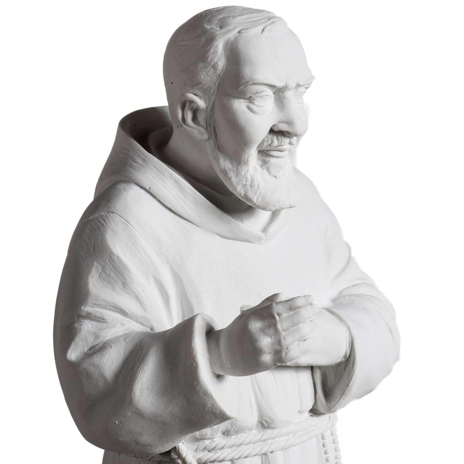 Padre Pío de mármol sintético blanco 40 cm 4