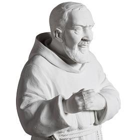 Padre Pío de mármol sintético blanco 40 cm s3