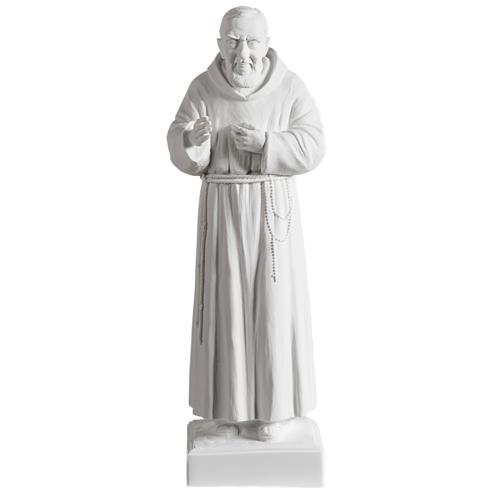 Padre Pío de mármol sintético blanco 40 cm 1