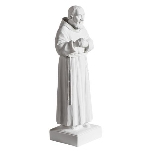 Padre Pío de mármol sintético blanco 40 cm 2