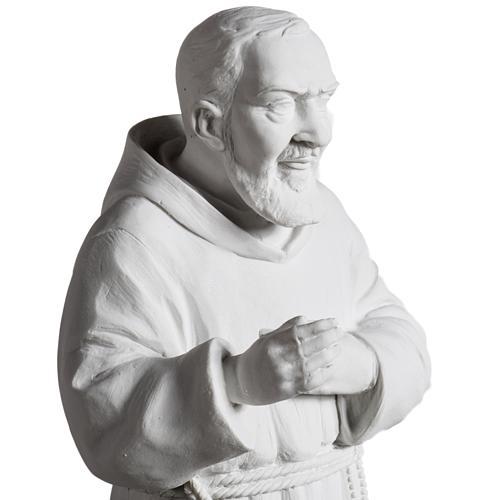 Padre Pío de mármol sintético blanco 40 cm 3