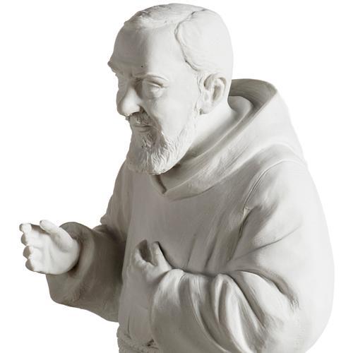 Padre Pío de mármol sintético blanco 40 cm 6