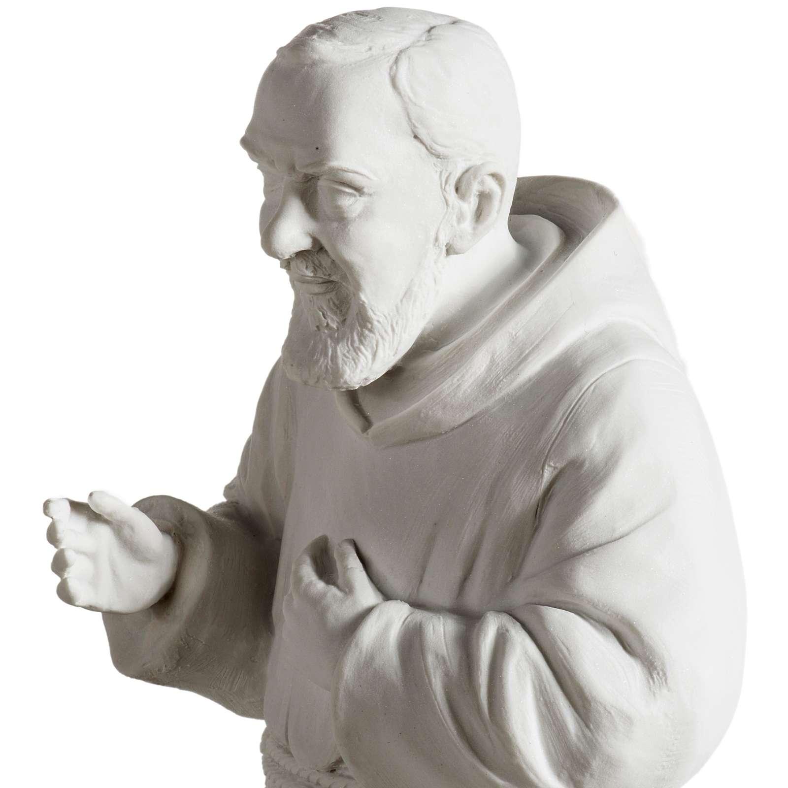 Ojciec Pio marmur syntetyczny biały 40 cm 4