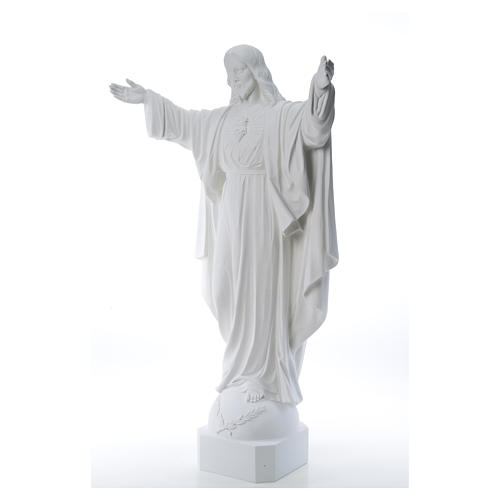 Christ the Redeemer in reconstituted Carrara Marble, 100 cm 10