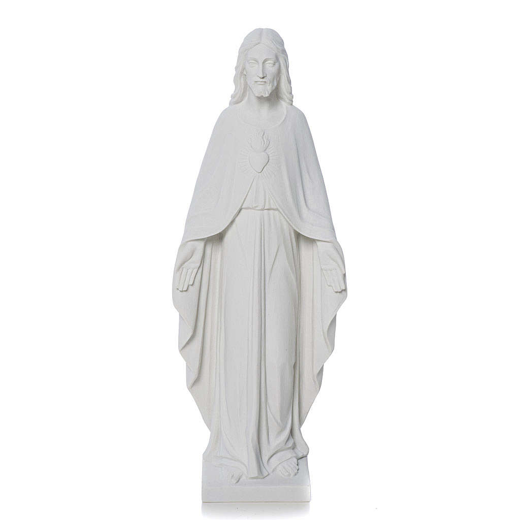 Sagrado Corazón Jesús 36 cm mármol blanco 4