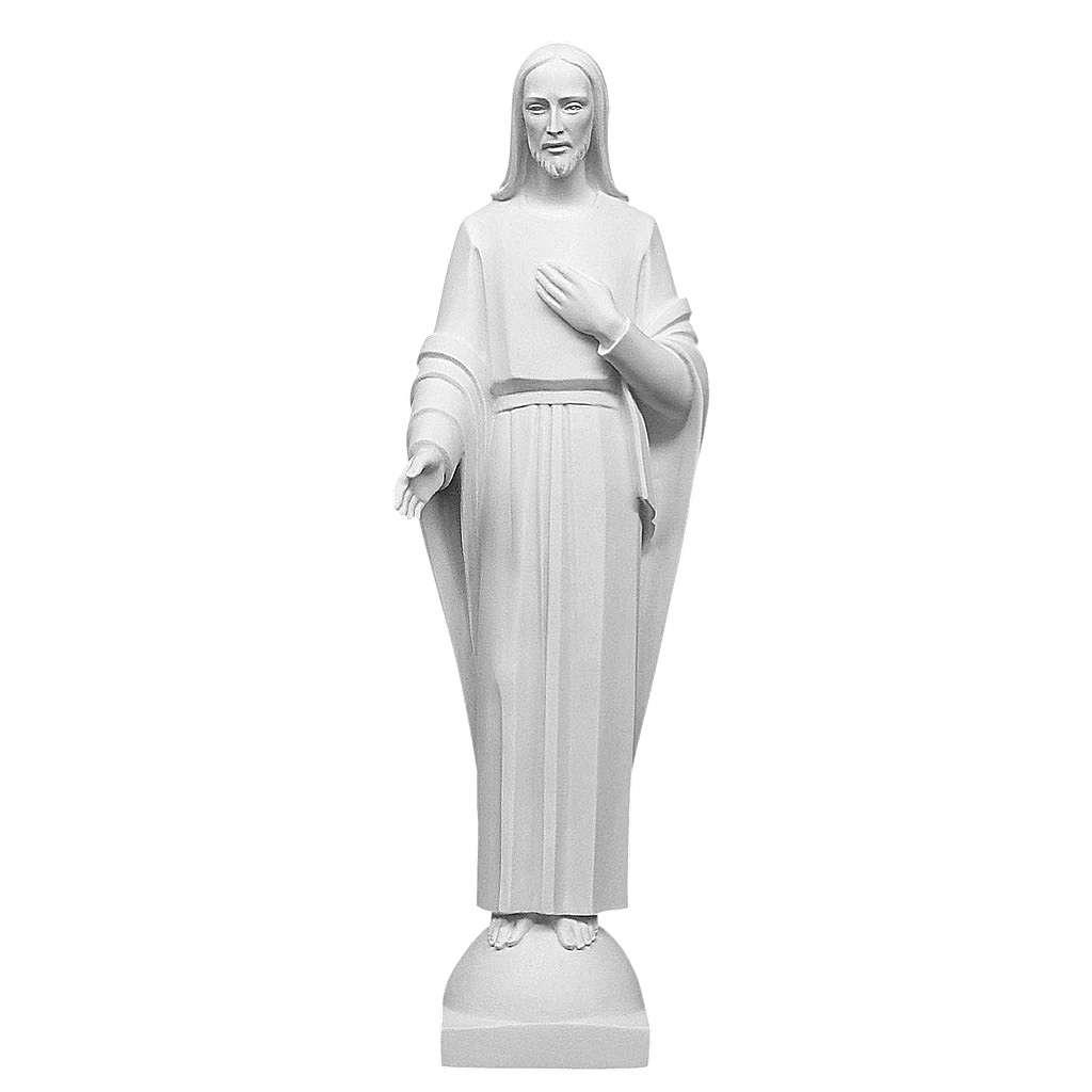 La mano de Cristo en su Corazón mármol blanco 60-80 cm 4