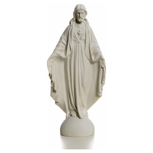 Holy Heart of Jesus, Reconstituted Carrara Marble Statue, 25 cm 4