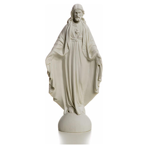 Holy Heart of Jesus, Reconstituted Carrara Marble Statue, 25 cm 1