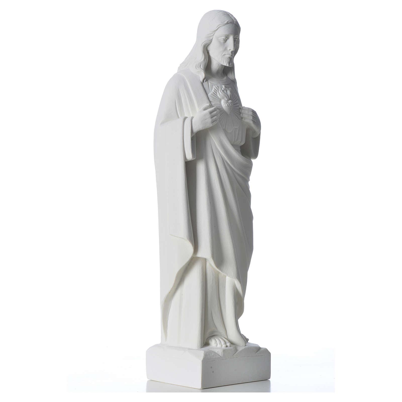 Sacré coeur de Jésus marbre blanc reconstitué 30-40 cm 4