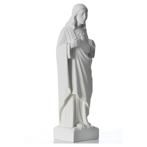 Sacré coeur de Jésus marbre blanc reconstitué 30-40 cm 8
