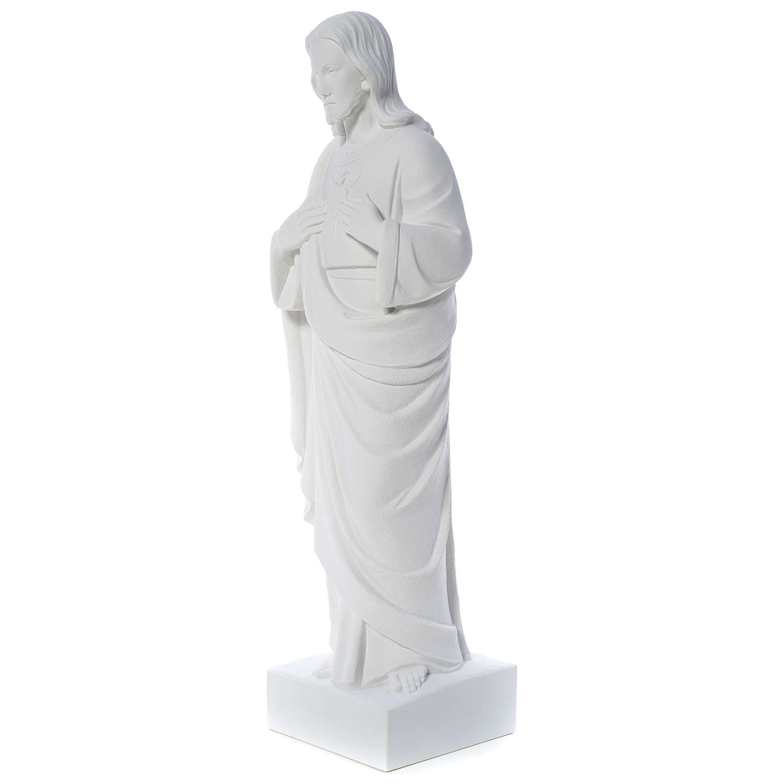 Holy Heart of Jesus -  Reconstituted Carrara Marble Statue 80-100 cm 4