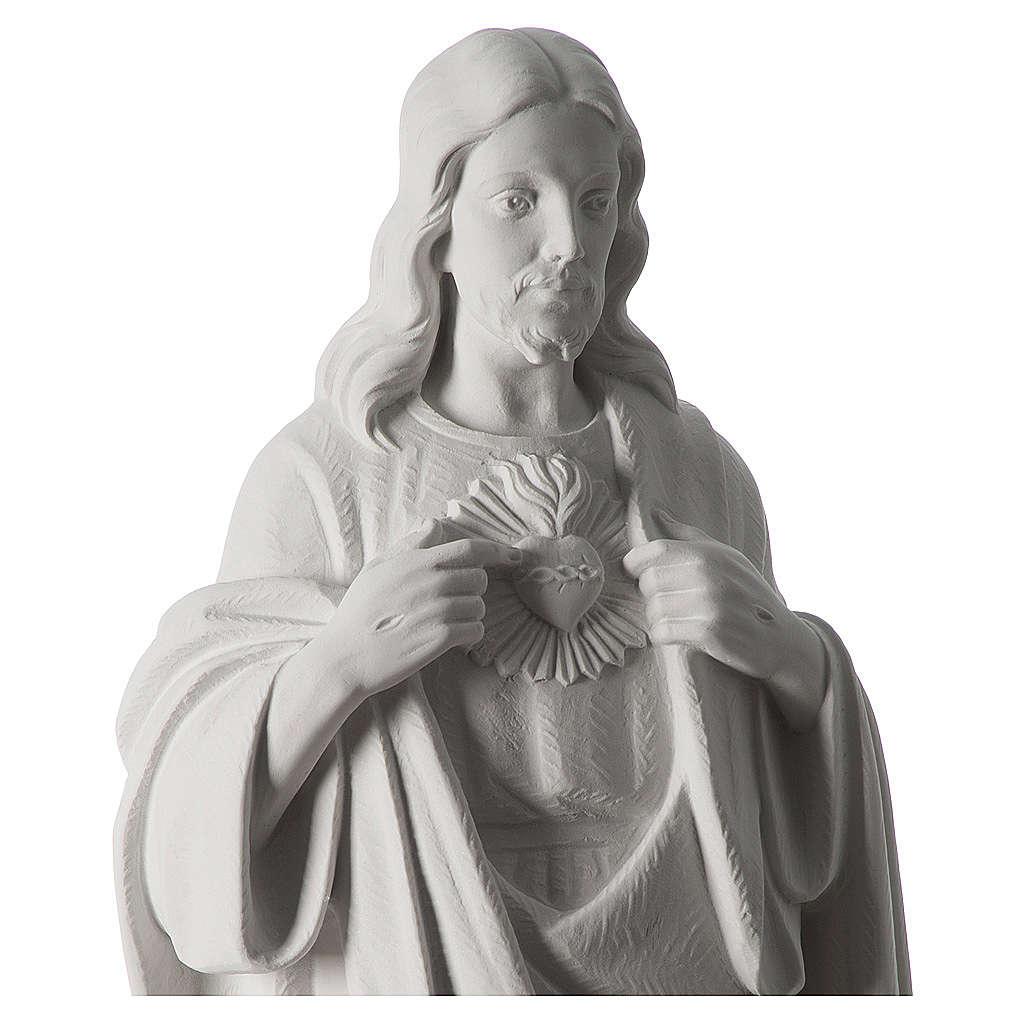 Sacro Cuore di Gesù 70 cm marmo bianco 4