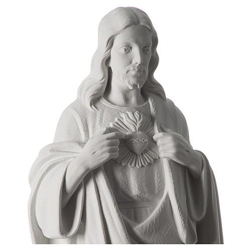 Sacro Cuore di Gesù 70 cm marmo bianco 3