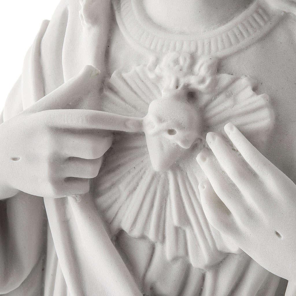 Sagrado Coração Jesus 50 cm mármore sintético branco 4
