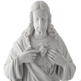 Sagrado Coração Jesus 50 cm mármore sintético branco s2