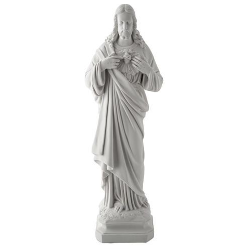Sagrado Coração Jesus 50 cm mármore sintético branco 1