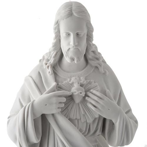 Sagrado Coração Jesus 50 cm mármore sintético branco 2