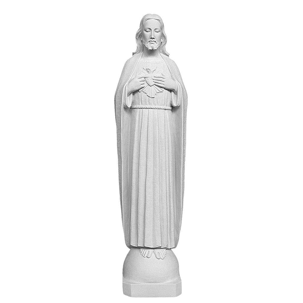 Sacro Cuore 75 cm polvere di marmo bianco 4
