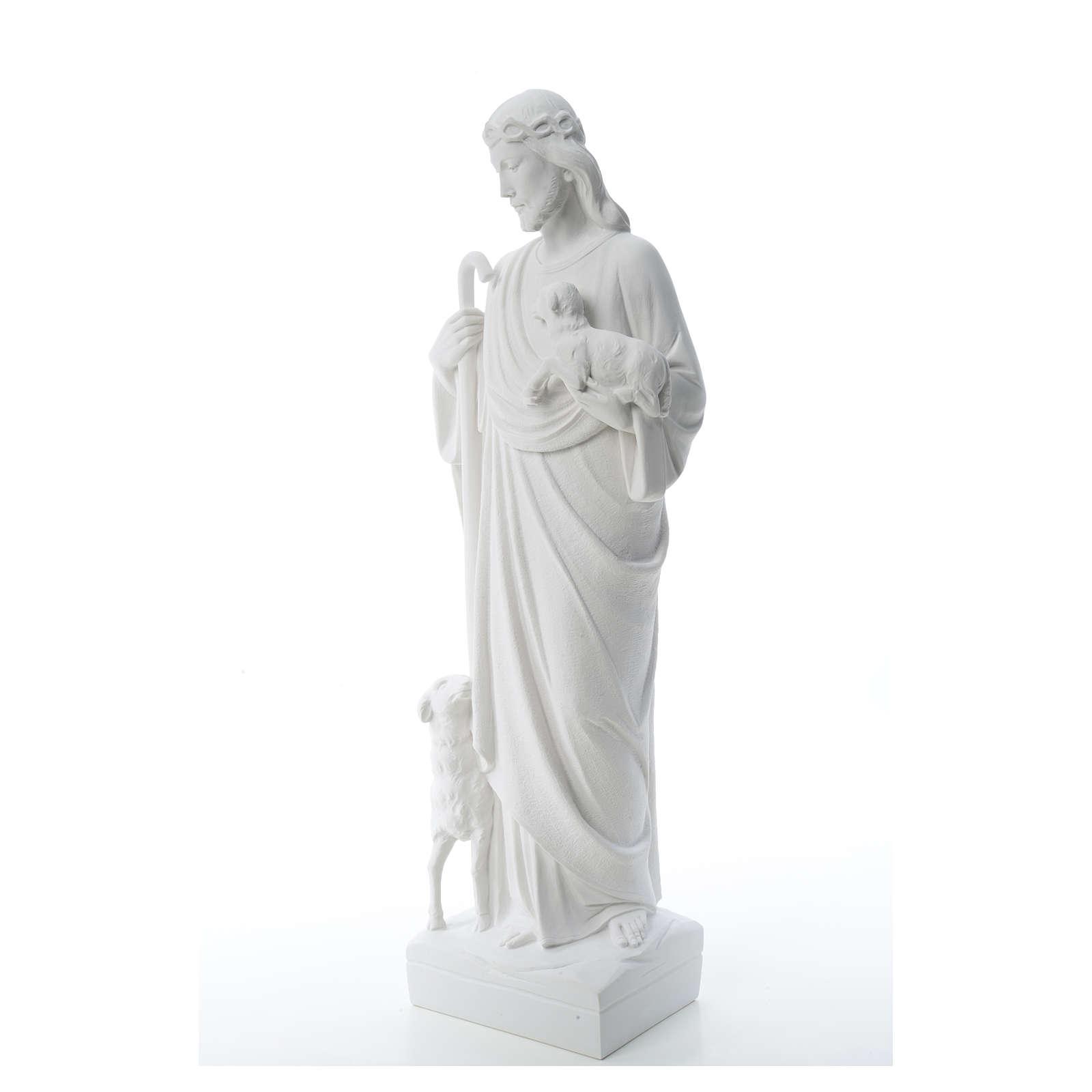 Buon Pastore con pecore, marmo sintetico 60-80 cm 4