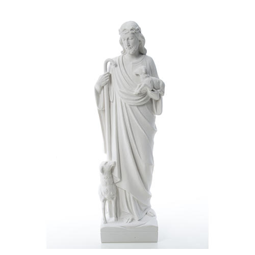 Good Shepherd with sheep, statue in reconstituted marble 60-80 cm 6